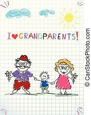 kleinzoon, kleurrijke, kinderen, groet, hand, vector, samen., oma, getrokken, opa, kaart