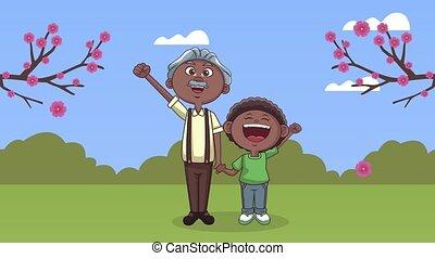 kleinzoon, schattig, grootvader, afro, animatie