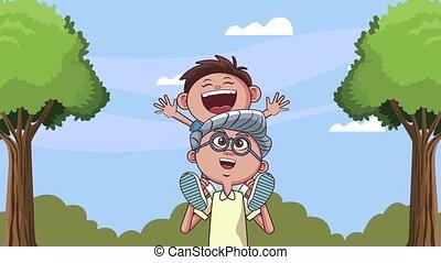 kleinzoon, schattig, het tilen, grootvader, animatie