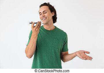 klesten, het glimlachen, smartphone, brunette, kaukasisch, beeld, man