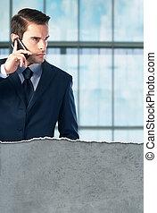 klesten, telefoon, jonge, zakenman