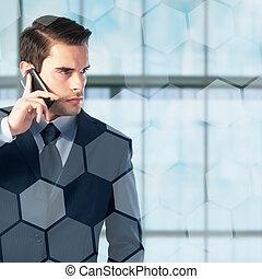 klesten, zakenman, jonge, telefoon