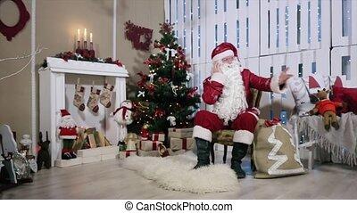 klesten, zijn, kamer, telefoon, gifts., schommel, boompje, arm, kerstman, digitale , openhaard, kerstmis