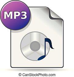 kleur, audio, -, bestand, pictogram