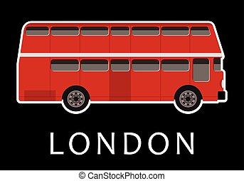 kleur, dubbel dek, rood, bus