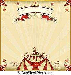 kleur, fantastisch, circus, plein, kaart