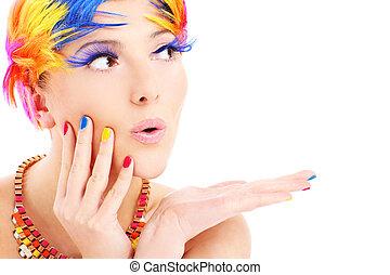 kleur, haren, vrouw confronteren