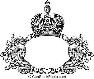 kleur, koninklijke kroon, bochten, een, elegant, retro