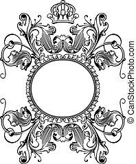 kleur, koninklijke kroon, bochten, een, ouderwetse , spandoek
