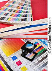 kleur, management, set