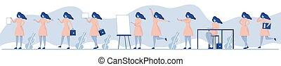 kleur, maniertjes, set, anders, zakenman, emotions., illustratie, vector