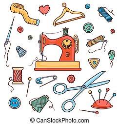 kleur, naaiwerk, set