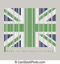 kleur, noordelijk, set, groene, unie, streepjescode, flag., vlag, ierland