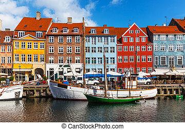 kleur, nyhavn, gebouwen, denemarken, copehnagen