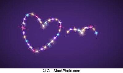 kleur, purpere ster, achtergrond, hartjes