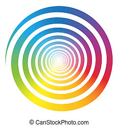 kleur, regenboog, witte , helling, spiraal