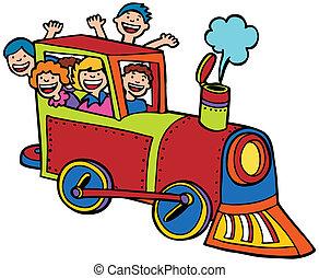 kleur, rijden, trein, spotprent