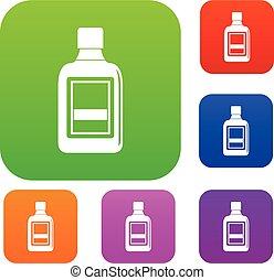 kleur, set, fles, verzameling, plastic