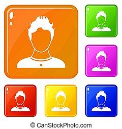 kleur, set, gebruiker, iconen