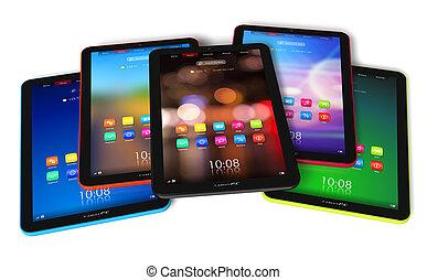 kleur, set, tablet, computers