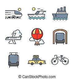 kleur, set, vervoer, pictogram