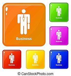 kleur, set, zakenbeelden