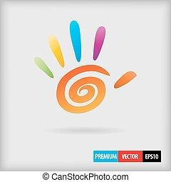 kleur, spiraal, hand, vingers, vector, 5