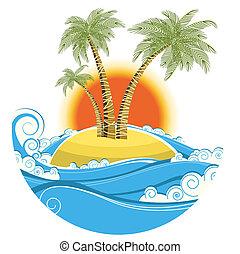 kleur, symbool, tropische , zon achtergrond, vrijstaand, island., vector, zeezicht, witte