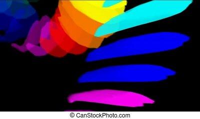 kleur, vallend papier, veertjes