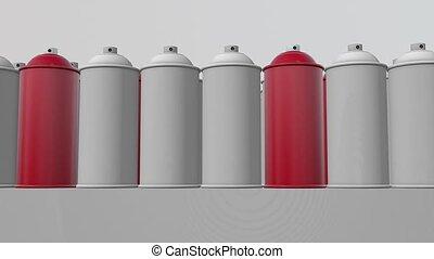 kleur, verpulveren, abstract, rood, blikjes