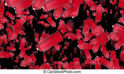 kleur, verpulveren, vliegen, blikjes, rood