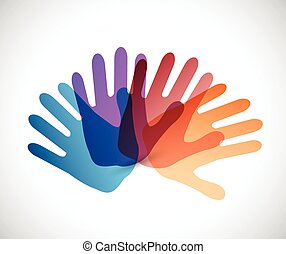 kleur, verscheidenheid, ontwerp, illustratie, handen