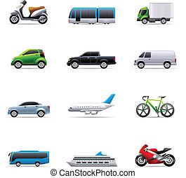 kleur, -, vervoer, iconen