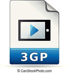 kleur, -, video, bestand, pictogram