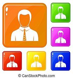 kleur, zakenman, set, iconen