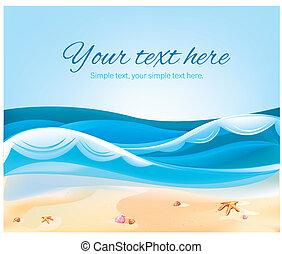 kleur, zomer, strand, illustratie, oceaan