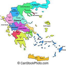 kleuren kaart, griekenland