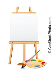 kleuren palet, schildersezel
