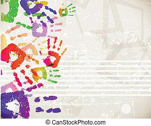 kleurrijke, abstract, handprint, ontwerp, retro, mal
