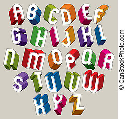 kleurrijke, alfabet, brieven, dimensionaal, vector, lettertype, geometrisch, 3d