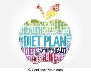 kleurrijke, appel, dieet, plan
