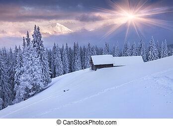 kleurrijke, bergen., dramatisch, zonopkomst, winter, sky.