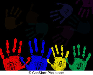 kleurrijke, black , vrijstaand, afdrukken, hand
