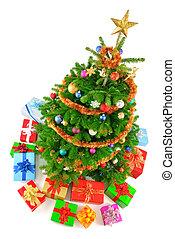 kleurrijke, boompje, aanzicht, kerstmis, bovenzijde