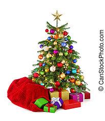 kleurrijke, boompje, santa, kadootjes, zak, kerstmis