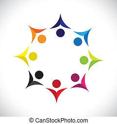 kleurrijke, concepten, gemeenschap, spelend, verenigd, vriendschap, werknemer, blij, optredens, vector, kinderen, &, vakbonden, verscheidenheid, icons(signs)., delen, geitjes, arbeider, abstract, illustratie, graphic-, zoals, concept, enz.