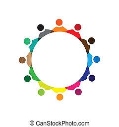 kleurrijke, concepten, gemeenschap, spelend, vriendschap, werknemer, bedrijf, vector, kinderen, &, werknemers, vergadering, vakbonden, verscheidenheid, vertegenwoordigt, delen, icons(signs)., arbeider, illustratie, graphic-, zoals, concept, enz.