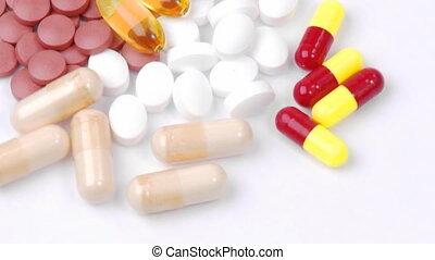 kleurrijke, dollars, pillen, draaien