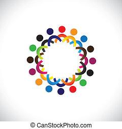 kleurrijke, gemeenschap, concepten, spelend, vriendschap, werknemer, mensen, sociaal, optredens, vector, &, vakbonden, verscheidenheid, delen, icons(symbols)., geitjes, arbeider, illustratie, graphic-, zoals, concept, enz.