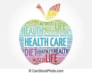 kleurrijke, gezondheid, appel, care